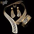 Kindlegem Exquisito Dubai Sistema de La Joyería de Lujo de Oro Grandes Plateados Plata Boda Nigeriano Perlas Africanas de La Joyería Diseño de Vestuario