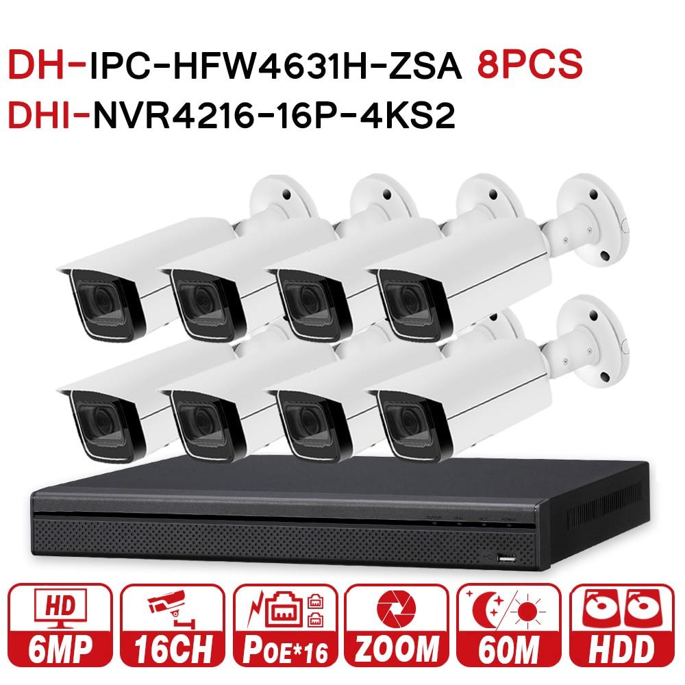 DH CCTV di Sicurezza del Sistema 8 pz 6MP Zoom Macchina Fotografica del IP di IPC-HFW4631H-ZSA e 16POE 4 k NVR NVR4216-16P-4KS2 Sistema di Sorveglianza di Sicurezza
