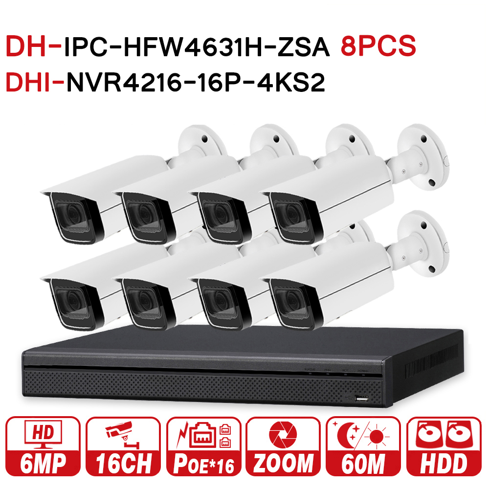 DH Security CCTV System 8PCS 6MP Zoom IP Camera IPC-HFW4631H-ZSA & 16POE 4K NVR NVR4216-16P-4KS2 Surveillance Security System