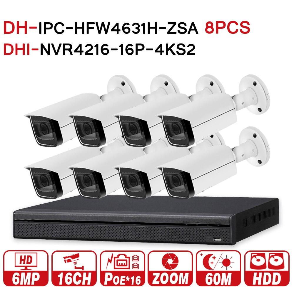 Sistema De CFTV de Segurança 8 DH pcs 6MP NVR4216-16P-4KS2 IPC-HFW4631H-ZSA & 16POE 4 k de Zoom Da Câmera IP NVR Sistema De Vigilância Da Segurança
