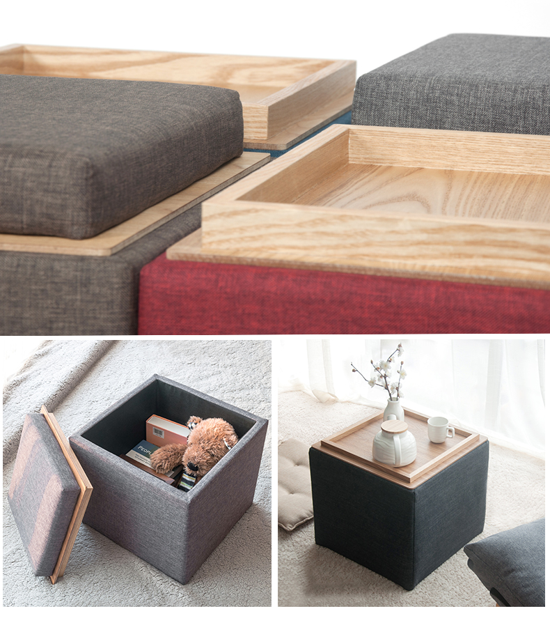 Solid wood storage stool fabric change shoe stool multifunctional storage stool Japanese style coffee table stool in Stools Ottomans from Furniture