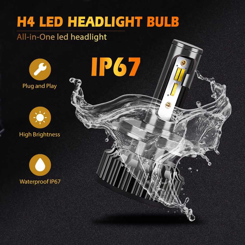 2PCS H4 Led H7 LED H1 H3 H8 H11 9005 HB3 9006 HB4 9007 3000K 4300K 6500K 72W 8000LM Car Light Auto Headlight with ZES Chips