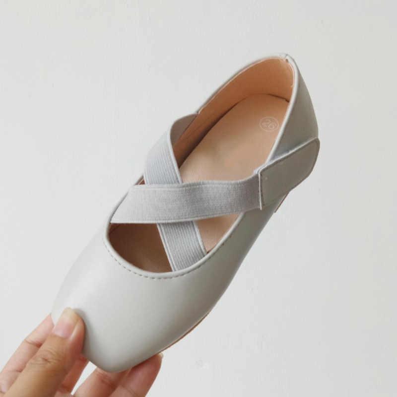 Giày Ballet giày girl dance cao su da vật liệu đàn hồi chữ thập thiết kế kid nền tảng giày phẳng con vuông toe ballet flats
