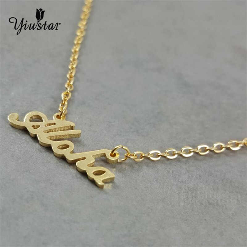 29faa6d014f88 ... yiustar Summer Golden Hawaiian Greeting Aloha Stainless Steel Necklace  Women Name Necklace Personalized Charm Necklace Letters