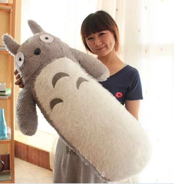 big lovely Totoro plush toy stuffed cylindrical totoro pillow birthday gift about 80cm free shipping about 60cm cartoon totoro plush toy dark grey totoro doll throw pillow christmas gift w4704