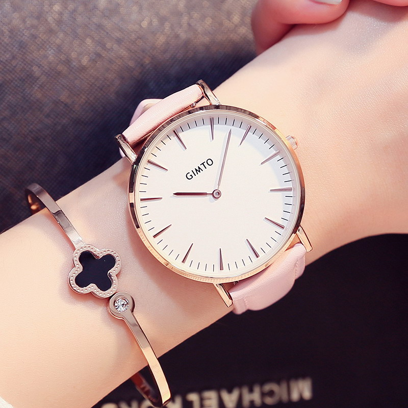 GIMTO Reloj Mujer Casual Women Watch Leather Ladies Watch Women  Luxury Quartz Wristwatch Waterproof Female Clock New Table Hour weiqin luxury gold wrist watch for women rhinestone crystal fashion ladies analog quartz watch reloj mujer clock female relogios