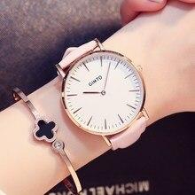 GIMTO Mujer Reloj Casual Reloj de Las Mujeres Señoras de Cuero de Lujo Las Mujeres Del Reloj de Cuarzo Reloj Impermeable Femenina Nueva Tabla Hour