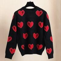 SRUILEE Design Sweet Heart Jacquard Sweater Autumn Winter Love Jumper Women Sweater Lightning Lurex Pullovers Knit Tops Runway