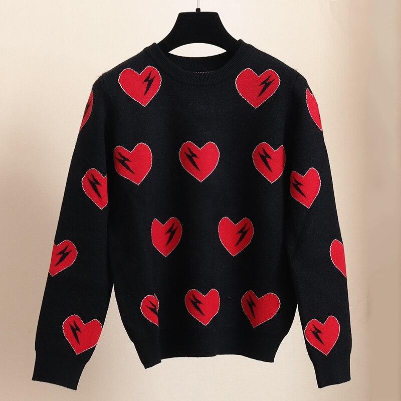 SRUILEE Doux Coeur Jacquard Jumper Automne Hiver De Luxe Mode Jersey Femmes Chandail Foudre Pulls hauts en tricot Piste