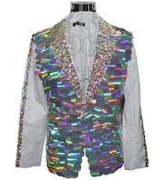 Многоцветный хлопья этап певица Танцы Мужская мода Slim Fit Blazer Мужчины костюм Блейзер masculino TERNO мужские куртки пиджаки Настраиваемые