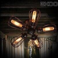 EKOO Retro Vintage Industrial Petal 5 Bulbs Chandelier lamp Steampunk Light for living room bar lighting