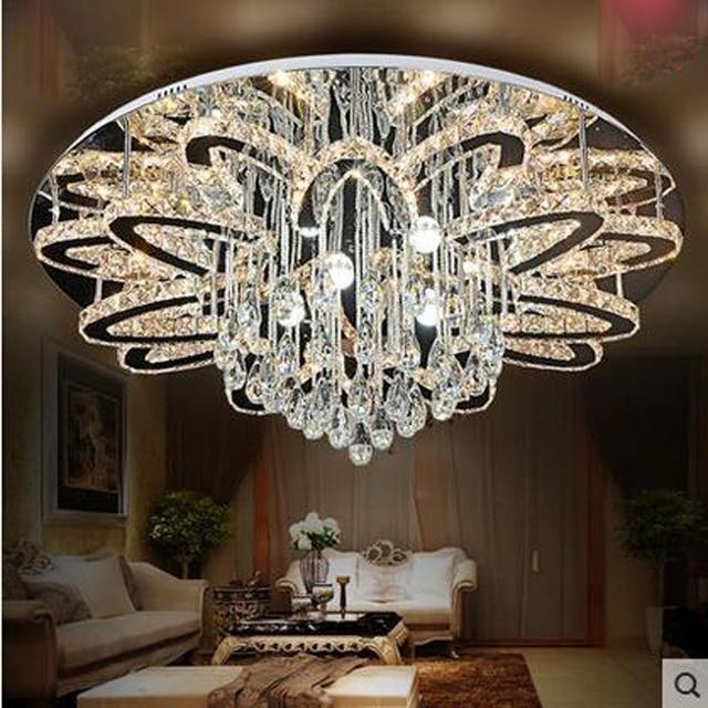 aliexpress koop moderne led plafondlamp ronde kristallen lamp