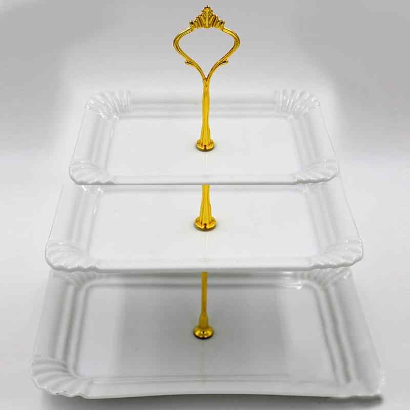 Kue Pemegang 1 Set 3 Tier Kue Piring Stand Handle Mahkota Logam Pas Pesta Pernikahan Tanpa Piring