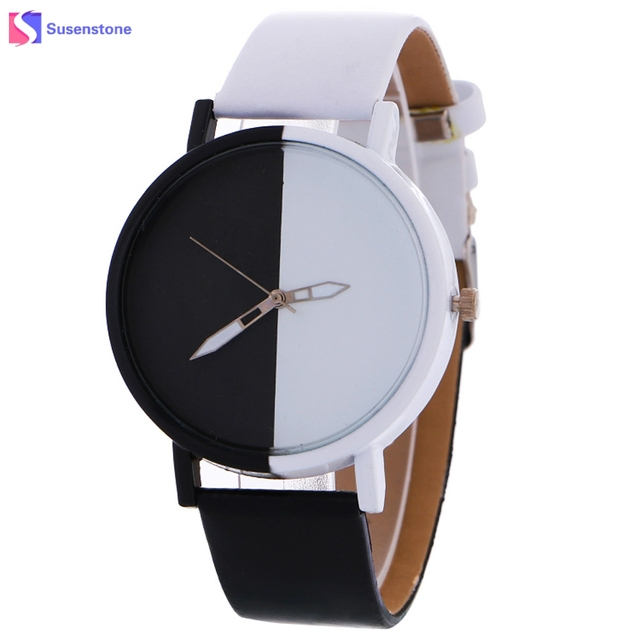 Fashion Black And White Design Women Men Watch Big Dial Alloy Quartz Wrist Watch