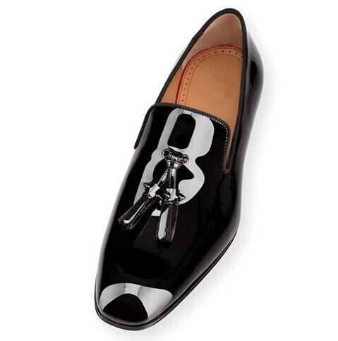 ФОТО Fashion Big Size 47 Matt/Shiny Leather Tassel Men Casual Shoes Brand Design Slip on Square Low Heel Men Loafers Sapatas Mujer