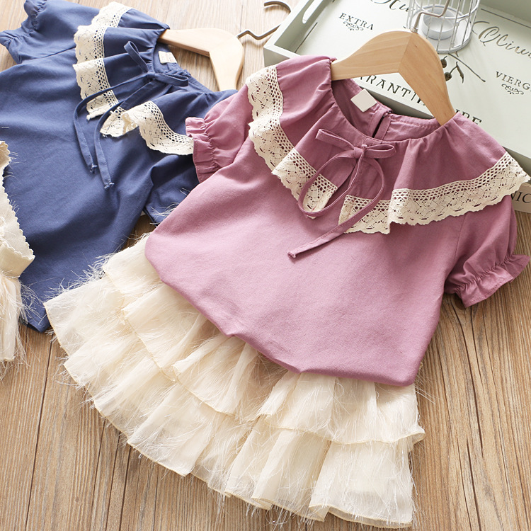 Children s Suit Korean Version Girl s Lace Big Turn collar Shirt Tassels Waist Skirt Two