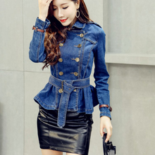 Spring women denim skirt hem short bouble breasted jacket