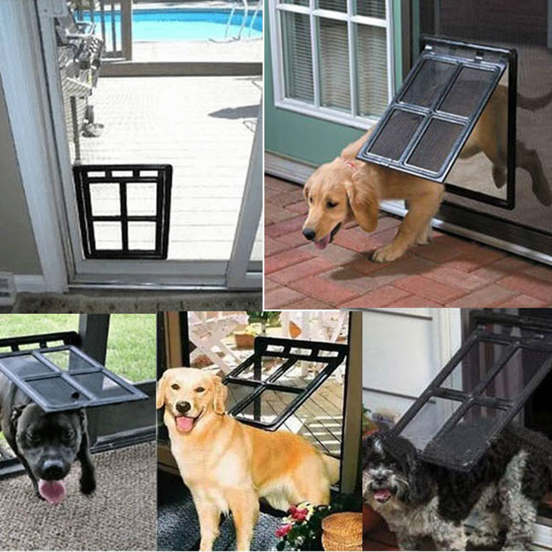 Lockable Plastic Pet Dog Cat Kitty Door for Screen Window Security Flap Gate Pet Tunnel Dog Fence Free Access Door for Home8