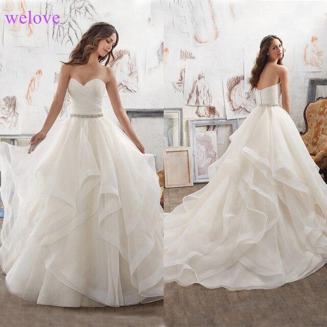Espartilho Vestidos de Casamento Ruffled Organza Custom Made Puffy Nupcial Caixilhos Branco/Marfim Plus Size Vestido de Noiva Vestígio De Noiva
