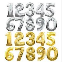40 inch Gold Silver Number Balloon Aluminum Foil Helium Birthday Wedding Party Decoration Celebration Supplies