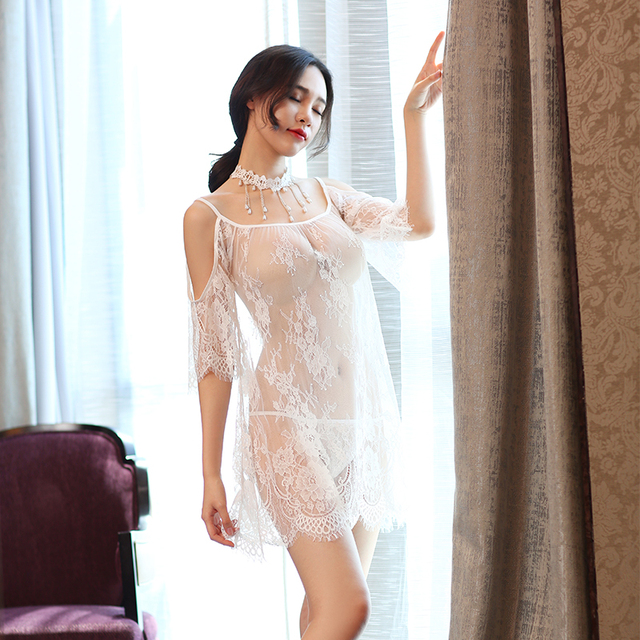 Yhotmeng2019 new mesh transparent sexy sling five-point sleeves flowers sexy lace pajamas nightdress set black and white 4