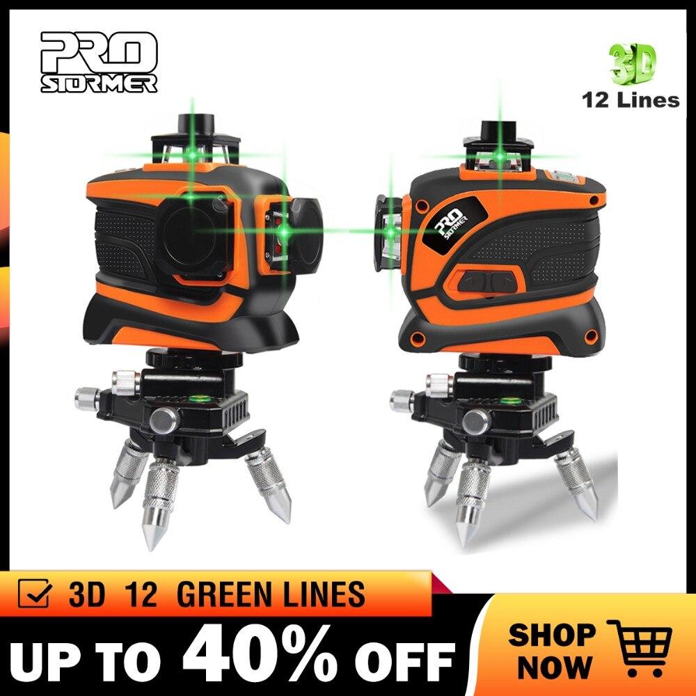 Prostormer 12 Linhas 3D Nível Do Laser Linha Verde 360 Set Auto-Nivelamento da Linha 12 Nivel UM Nível A Laser 3d 360 Vertical E Horizontal