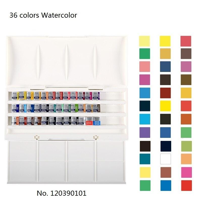 WINSOR & NEWTON 36 couleurs cotman solide aquarelle peinture art dessin pigment