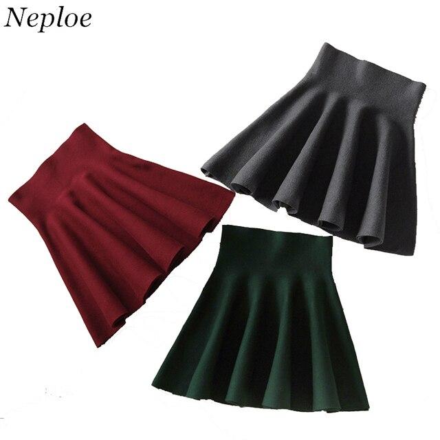 8a6ada987 Neploe Korean Pleated Skirt A Line Short Skirt Umbrella Skirt High Waist  Knitted Skirt 2018 Autumn
