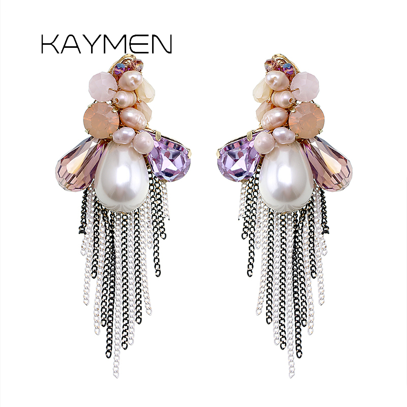 Kaymen Beautiful Luxury Crystal with Fresh Water Pearl Women Stud Earrings for Girls Party Prom Jewelry Statement Earrings 4143 in Stud Earrings from Jewelry Accessories