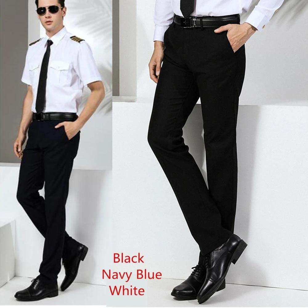 Navy Shirt Black Pants