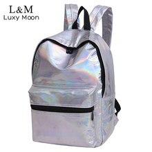 Блеск рюкзак женщин лазерной большой Рюкзаки девочек-подростков Bling рюкзак модный бренд золотистый и черный школьная сумка Mochila XA1097H
