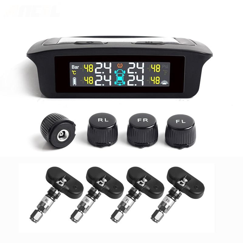 2019 最新の Tpms タイヤ空気圧警報システム 4 センサーソーラーエネルギータイヤモニター無線車のタイヤ警報 TPMS ソーラー電源  グループ上の 自動車 &バイク からの タイヤ圧 警報 の中 1