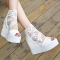 Summer Women Sandals Platform Wedge Thick Heels Open Toe High Heel Lace flower Sandals Black White Silver
