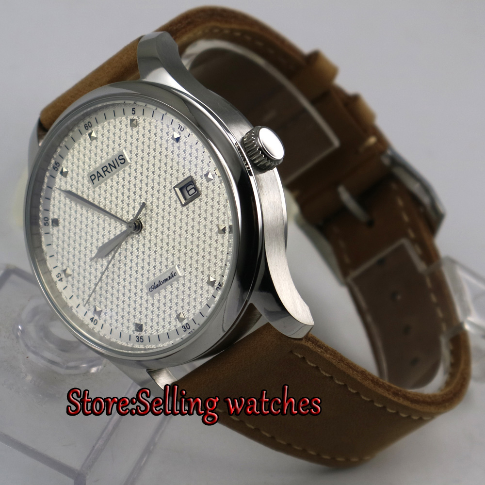43mm parnis white dial date window leather ST 2551 automatic mens watch 43mm parnis white dial date window leather ST 2551 automatic mens watch