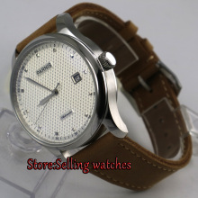 цена 43mm parnis white dial date window leather ST 2551 automatic mens watch онлайн в 2017 году