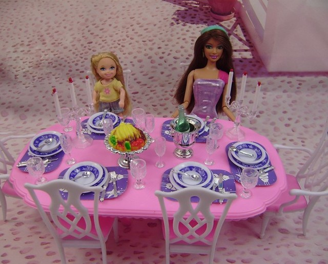 Free shipping girl birthday gift play toy dinner set accessories for barbie doll