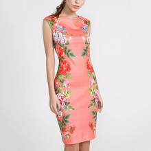Summer Dress New Arrival Real Dress 2016 Floral Rose Print Design High Waist Bodycon Chinese Style O Neck Sleeveless Party 029