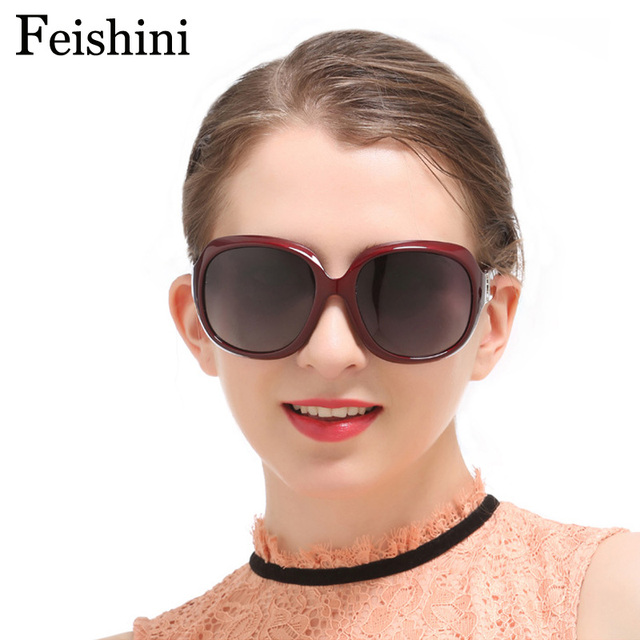 20ecedb7fc FEISHINI Corrosion Resistant HD Vision Glasses Big Frame strong Lens Oval  Sunglasses Women Polarized vintage