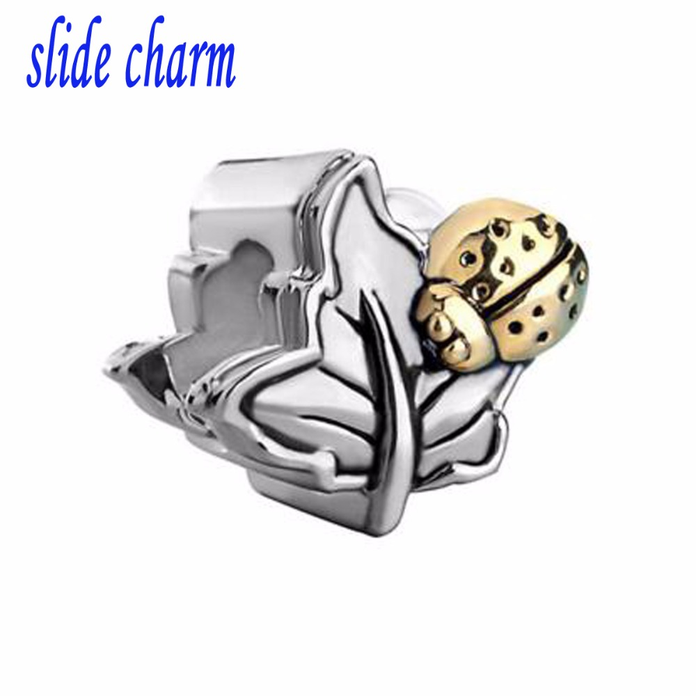 Free shipping The charm of ladybug on mulberry leaves fit Pandora charm bracelet hand jewelry accessories Christmas gift 11