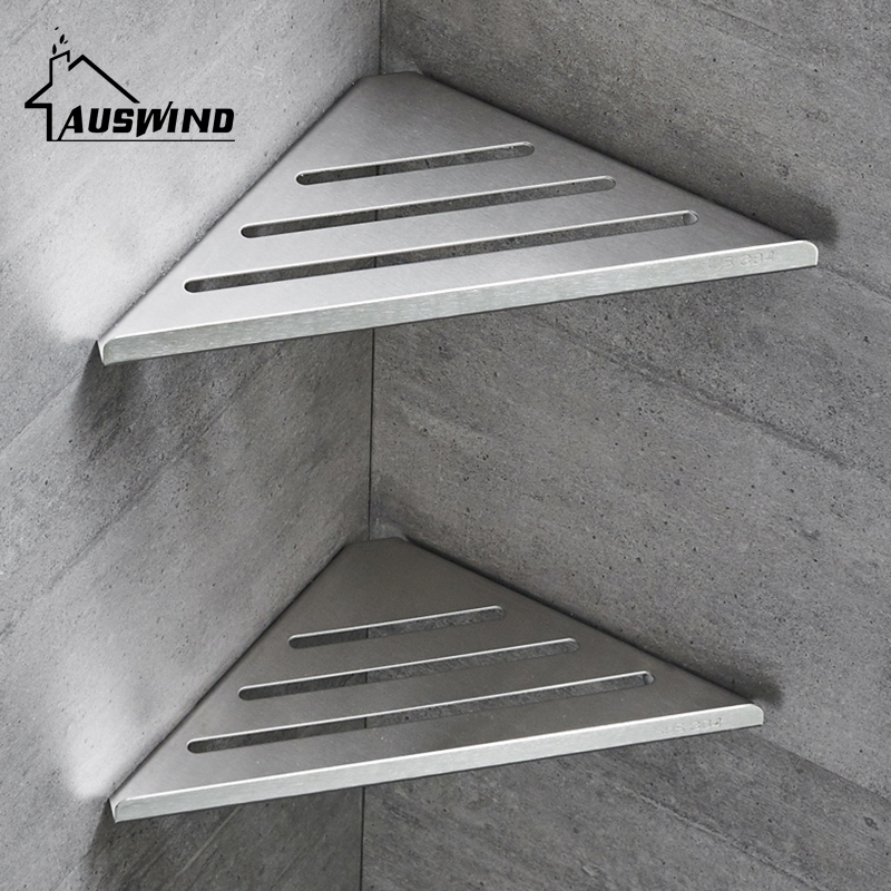 Corner Shelf Single Layer 304 Stainless Steel Bathroom Shelf Wall Mounted Stainless Steel Shelves Bathroom