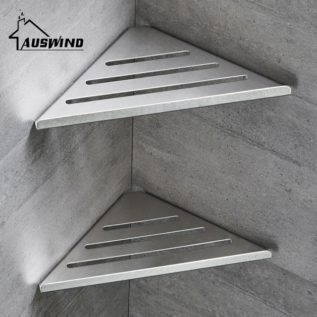 Corner Shelf Single Layer 304 Stainless Steel Bathroom Shelf Wall