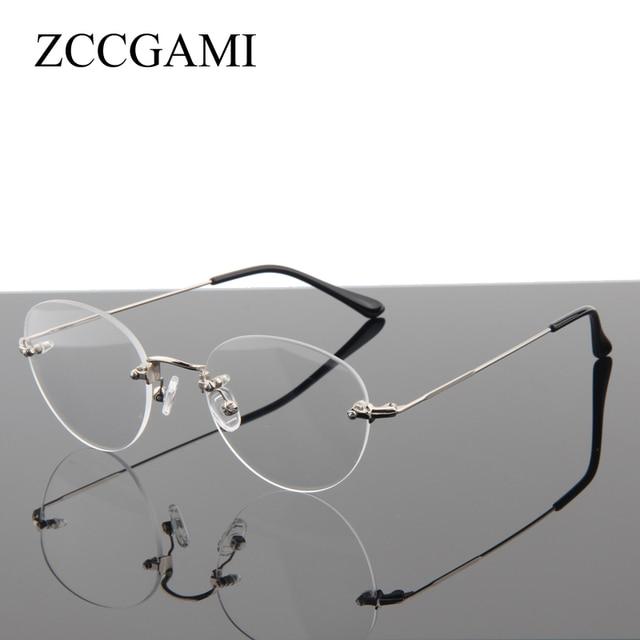 e68c96116a Fashion No Screw Super Light Round Rimless Glasses Frame For Women Metal  Eyeglasses Myopia Optical Frames Computer Eyewear   06N