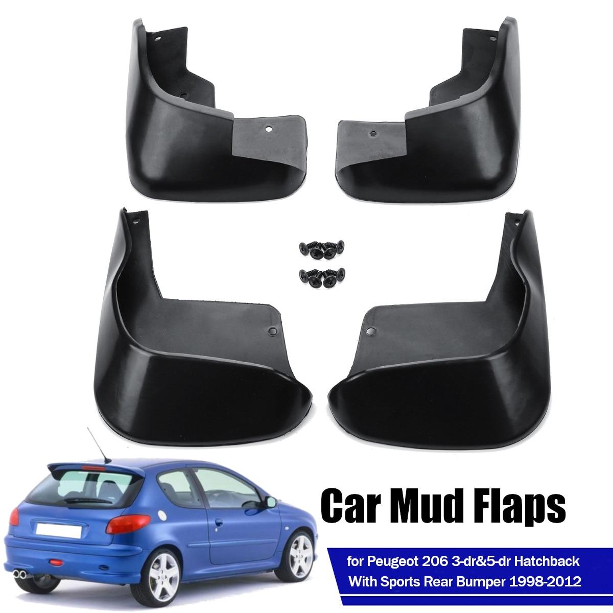 4Pcs รถ Fender Mud Flaps ด้านหน้าด้านหลัง Mudflaps Mud Splash Guards Mudguards สำหรับ Peugeot 206 1998-2012