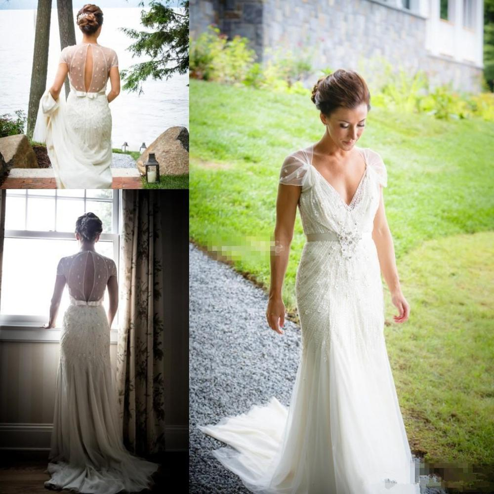 Vintage Great Gatsby Wedding Dresses With Sleeve 2019 V Neck Sparkly Luxury Beaded Lace Garden Mermaid Bridal Reception Gown Wedding Dresses Aliexpress