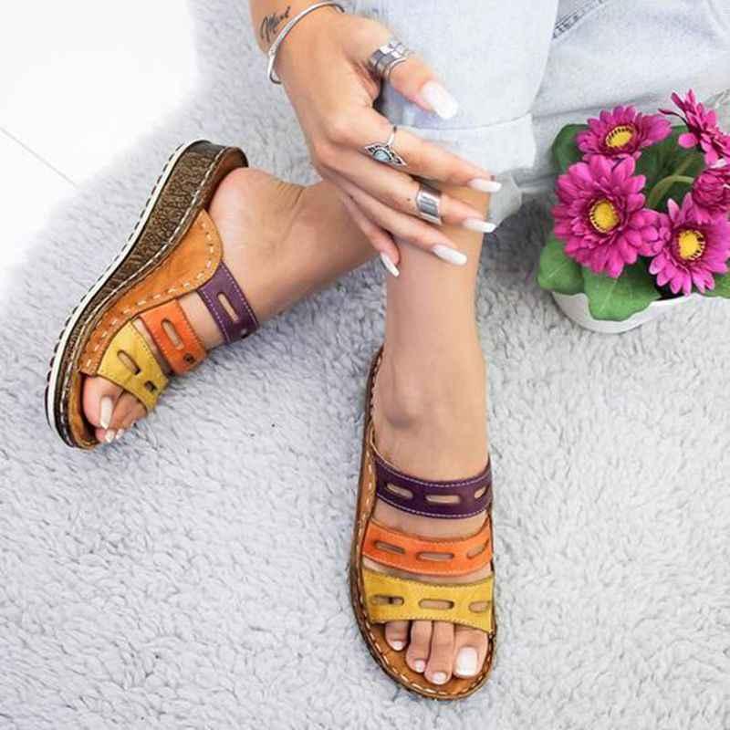 MoneRffi 2019 yaz Flip flop kadın sandalet dikiş sandalet bayanlar burnu açık rahat ayakkabılar platformu kama kaydırıcılar ayakkabı