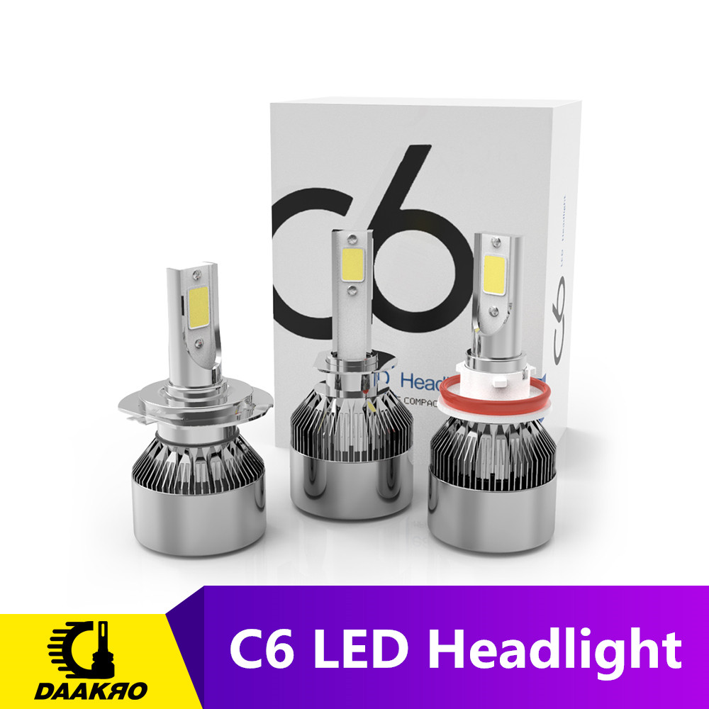 2PCS/lot <font><b>C6</b></font> <font><b>led</b></font> Car <font><b>Headlight</b></font> H7 <font><b>LED</b></font> H4 Bulb <font><b>H1</b></font> H11 HB3 9005 HB4 9006 72W 4000lm 8000lm Auto Lamps Fog Lights 12V Cold White image
