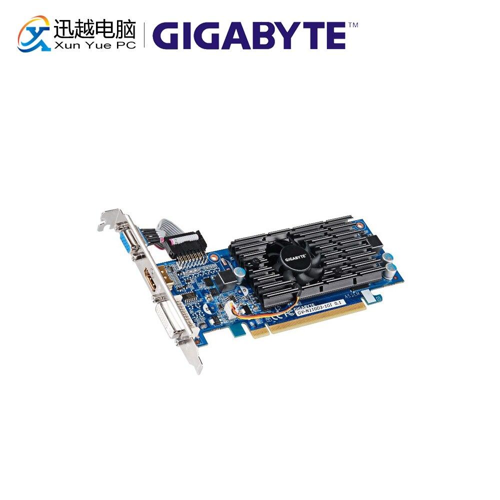 Gigabyte GV-N210D3-1GI Graphics Cards 64 Bit G 210 1G GDDR3 HDMI DVI VGA For Nvidia Geforce G210 Original Used Video Card(China)