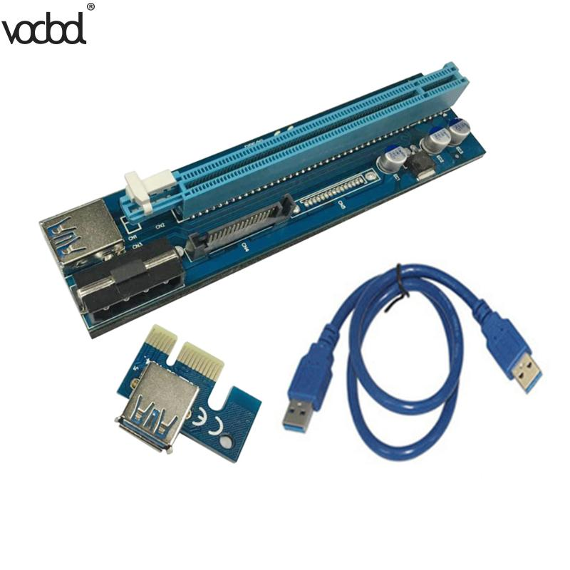 VODOOL Power Enhanced 60cm PCI-E Express Riser Card PCIe 1x to 16x + 4pin Sata Power Supply+USB 3.0 Data Cable For Bitcoin Miner