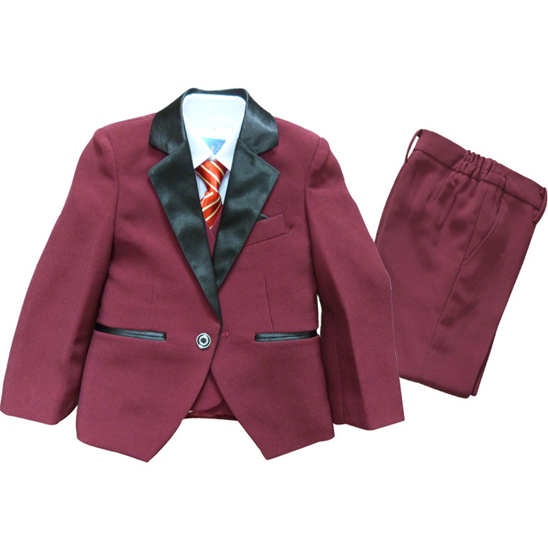 Boys Burgundy Suits 3PCS Formal suit for Weddings Party Ceremony Education Tuxedo Kids Clothes Page boy Outfits Boys Prom suit formal vocational education and training