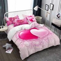 Rot Rosa Herz Bettwäsche Set Blumen Blätter Drucken Bettbezug-set König Königin Bettwäsche Paare Bett Abdeckung Valentinstag wohnkultur